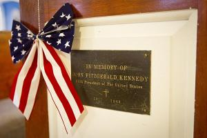 Kennedy Plaque on Pew